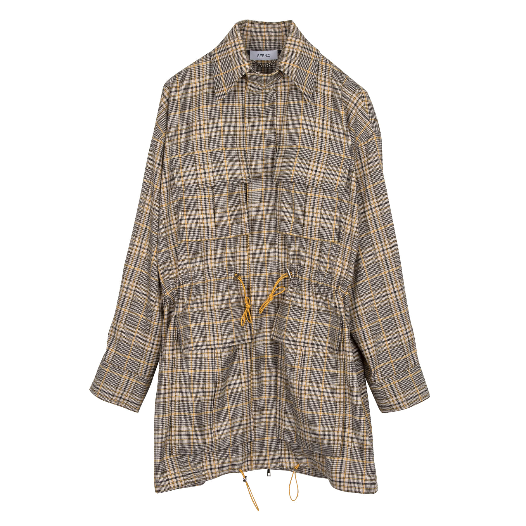 Yellow Safari Check Shirt Coat