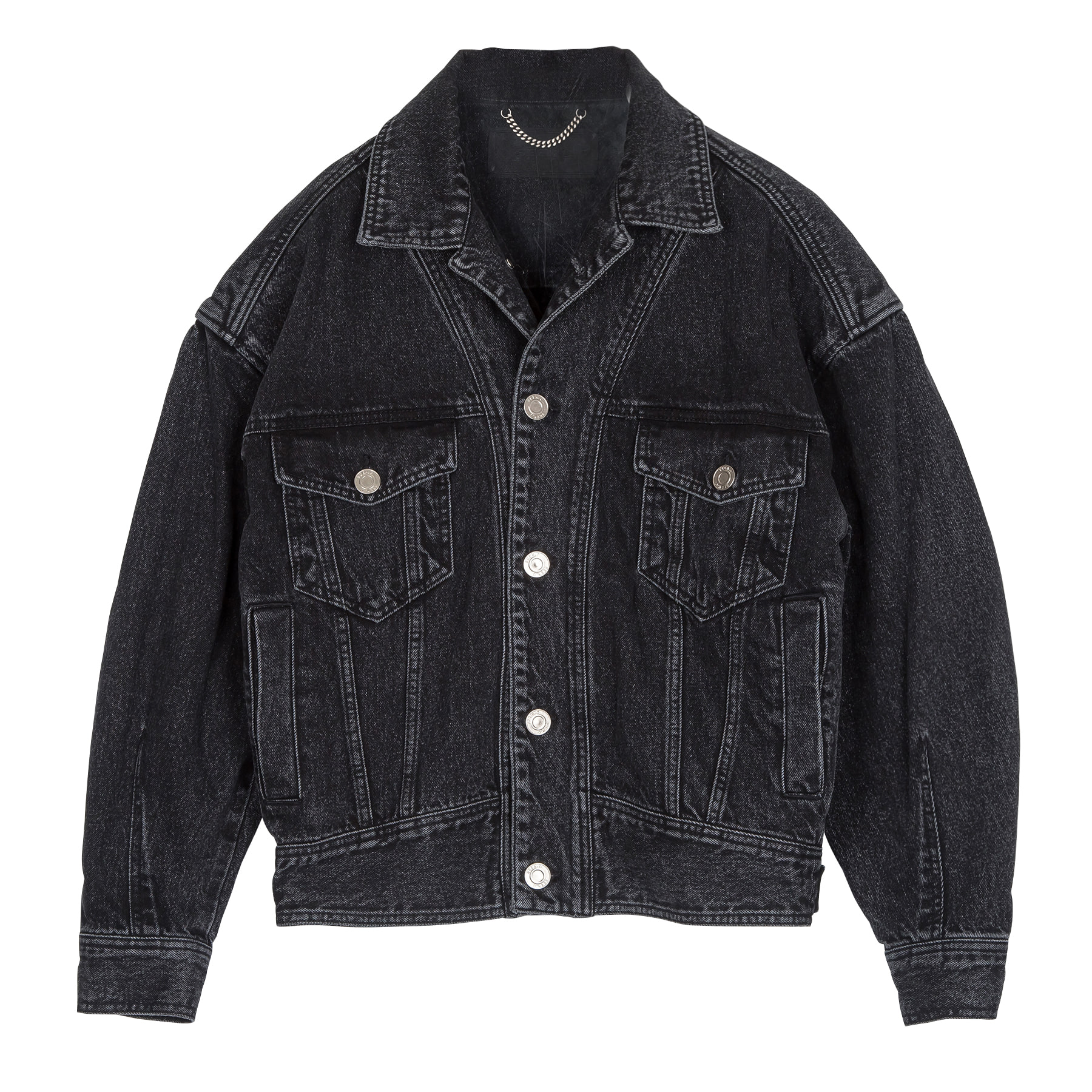 [Pre-Order] Stone-Washed Black Denim Jacket